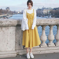 Fashion Women Korean Cotton Camisole Girls Lotita Sweet Casual Dress Brace Skirt