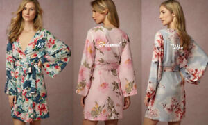 Custom Personalised Floral Wedding Bridal Party Bridesmaid Satin Robes! NEW