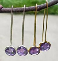 Sterling Silver 18Ct Gold Vermeil Faceted Amethyst Gemstone Oval Dangle Earrings