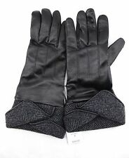 $100 LORD & TAYLOR Black Soft Supple Gray Wool Blend Cuff Gloves 8 NWT