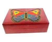 Butterly Inlay Wooden Box Poland Folk Art