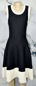 KATE SPADE Black Ivory Quincy Sleeveless Fit and Flare Sweater Dress Large