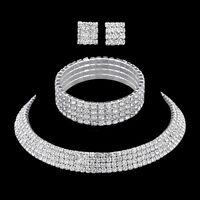 Crystal Bridal Jewelry Sets Rhinestone Necklace Wedding Engagement Jewelry Sets