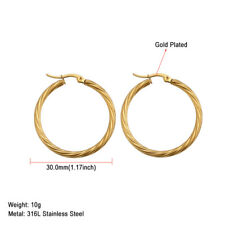 316L Stainless Steel Women Hoop Earrings Round Silver/Rose/Gold Fashion Jewelry