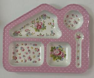 Cath Kidston Kids Pink Hankie Rose Floral Melamine Divided Plate Tray HTF Mint