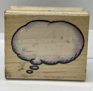 Vintage Wood Rubber Stamp Speech Bubble All Night Media 547E Thought Balloon