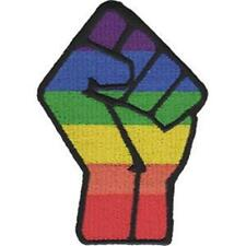 IRON ON/SEW ON - LGBTQ - FIST WOVEN PATCH GAY PRIDE RAINBOW
