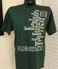 NEW CHAMPS UH UNIVERSITY HAWAII WARRIORS GREEN RESPECT T-Shirt MEN'S X-Large NWT