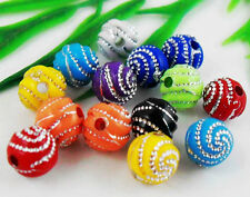50Pcs Mixed Acrylic Round Spacer Beads Findings 10mm