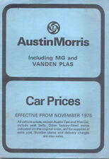 Austin Morris MG Vanden Plas UK Price List 1975 Nov Mini Allegro Marina Taxi