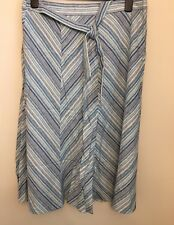 Marks And Spencer Bnwt Women's Blue Striped  Skirt With Linen Size 14