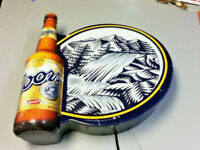 Coors Banquet beer sign motion waterfall bar light bottle moving water lighted