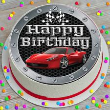 PRECUT HAPPY BIRTHDAY RED SPORTS CAR 7.5 INCH ROUND EDIBLE CAKE TOPPER CC7359