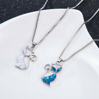 Cat Pendant Chain Necklace Stud Earrings Creative 925 Silver Opal Jewellry Gift