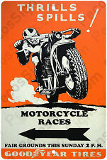 """Motorcycle Racing Poster on a 8"""" w x 12"""" h Aluminum Sign - Made in USA"""