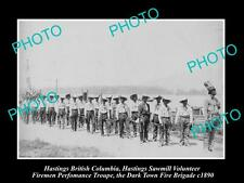 OLD LARGE HISTORIC PHOTO OF HASTINGS BC CANADA, THE SAW MILL FIREMEN TROUPE 1890
