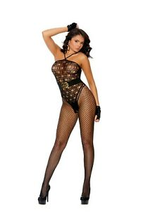 Crochet Bodystocking with Halter Neck & Open Crotch Adult Woman Clothing
