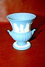 "Vintage Wedgwood Powder Blue English Jasperware 3.5"" Tall Pottery Urn Vase"