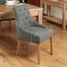 Baumhaus Oak Accent Upholstered Fabric Dining Chairs - Stone (Pack Of Two)