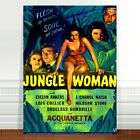 "Vintage Movie Poster Art ~ CANVAS PRINT 16x12"" The Jungle Woman"