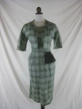 Vtg 50s 60s Designer Cathy Gray Womens Vintage Green Cotton Party Dress Set W 30