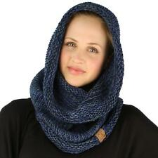 Winter Chunky Long Pullover Knit Single Loop Tube Infinity Hood Cowl Scarf Navy