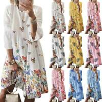 Plus Size Women Print Loose Shirt Dress Summer Casual Ladies Baggy Beach Dresses