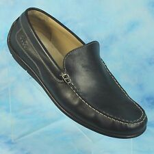 ECCO 11 W 11.5 EUR 45 Wide Black Leather Classic Driving Moccasins Shoes Loafers