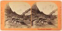 Suisse Strada Meiringen Foto Lamy Stereo PL27L1n Vintage Albumina c1865