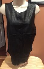Fate Solid Black Poly Blend Sleeveless Faux Leather Top M