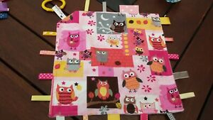 Taggie Blanket, Taggy, security blanket,Owls minky backing
