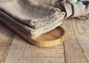 Flax linen napkins set, SET of 6 rustic napkins - Natural eco linen napkin