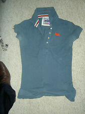 SUPERB SUPERDRY LADIES FITTED POLO TEE SHIRT SIZE SMALL GREY GOOD USED CONDITION