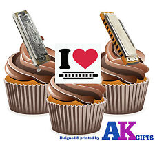 I Love Harmonica Mix 12 Edible Stand Up Cup Cake Toppers Blues Jazz Folk Party