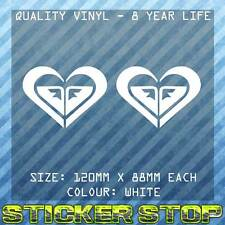 ROXY VINYL DECAL/STICKERS (TWO, WHITE, 12cm EACH) SURF, SURFING