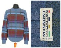 Mens Missoni Sport Vintage Jumper Sweater Wool Mohair Check Size 54 / XL