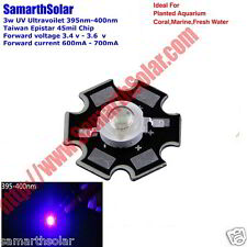 10pcs 3W UV UltraViolet Power LED Diode+Heatsink 395nm Plant Grow Light Aquarium