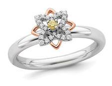 1/20 карат (Ctw) цитрин кольцо цветок из чистого серебра наклонясь роза покрытие