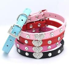 Dog Puppy Heart Diamante Collar Pet Rhinestone PU Leather Band Crystal