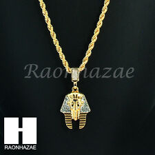 "ICED OUT EGYPTIAN KING TUT PHARAOH 14K GOLD PLATED 24"" ROPE NECKLACE CHAIN KN024"