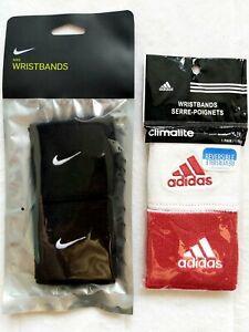 4 x Genuine NIKE (2) & ADIDAS (2) WRISTBANDS Sweatbands Sports Gym Yoga Tennis