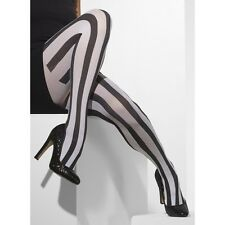 Black White Vertical Striped Opaque Tights Harlequin Dance Clown Convict