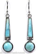 100% Natural AAA Dominican Larimar 925 Sterling Silver Dangle Earrings