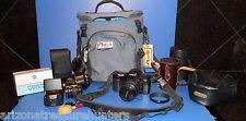 Minolta Maxxum 7xi AF 35mm SLR Film Camera , 3 Lens, Flash, Gear Bag, Filters ++