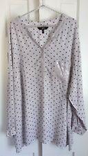 Ulla Popken YU  Gray/Stars/ Sequins button tab long sleeve EUC  USA 24/26 3X