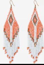 BEADED LONG White GOLD-WATERFALL Earrings TASSELS BEAD SEEDS EARRINGS NATIVE