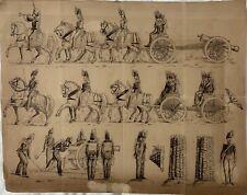 """BATTERIE D'ARTILLERIE"" DESSIN ORIGINAL A LA PLUME 1860"
