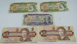 1979 OTTOWA CANADIAN $54 FACE VALUE NOTES LOT OF $2, $10, & $20 BILLS w0
