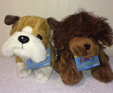 Webkinz Puppy Dog Plush Lot 2 NWT Bulldog Brown Dog HM195 HM125 Codes