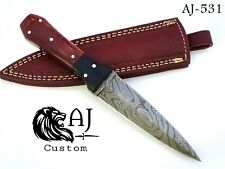 HAND FORGED DAMASCUS STEEL BOOT DAGGER HUNTING KNIFE W HORNE & WOOD HNDL- AJ 531
